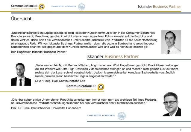 """2 Übersicht """"Unsere langjährige Beratungspraxis hat gezeigt, dass der Kundenkommunikation in der Consumer Electronics- Bra..."""