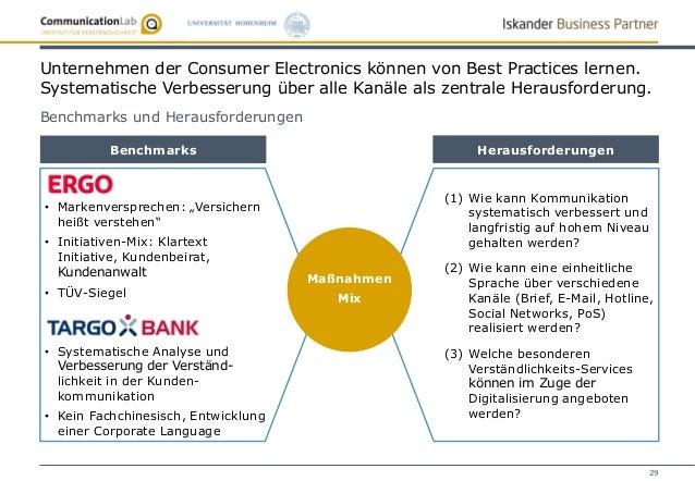 29 Unternehmen der Consumer Electronics können von Best Practices lernen. Systematische Verbesserung über alle Kanäle als ...