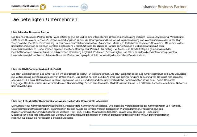 31 Die beteiligten Unternehmen Über Iskander Business Partner Die Iskander Business Partner GmbH wurde 2005 gegründet und ...