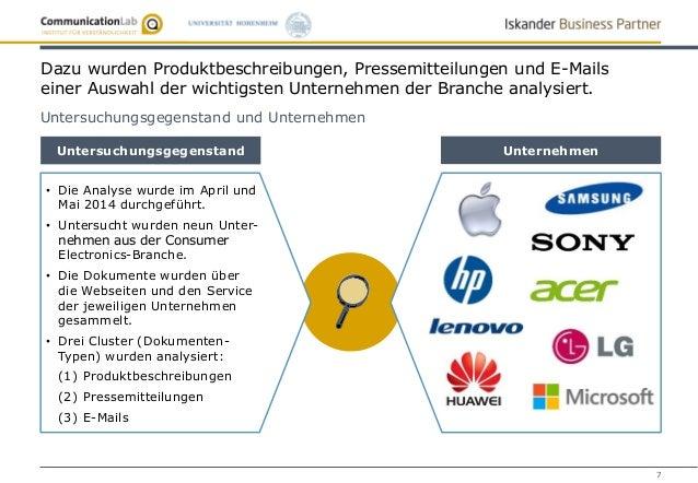 7 Untersuchungsgegenstand Unternehmen Dazu wurden Produktbeschreibungen, Pressemitteilungen und E-Mails einer Auswahl der ...