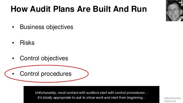 @RealGeneKim @jdeluccia How Audit Plans Are Built And Run ▪ Business objectives ▪ Risks ▪ Control objectives ▪ Control pro...