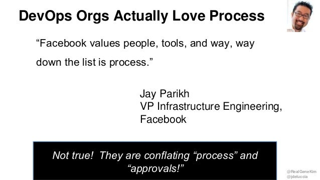 "@RealGeneKim @jdeluccia DevOps Orgs Actually Love Process ""Facebook values people, tools, and way, way down the list is pr..."