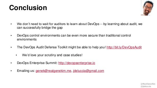 @RealGeneKim @jdeluccia ▪ We don't need to wait for auditors to learn about DevOps -- by learning about audit, we can succ...