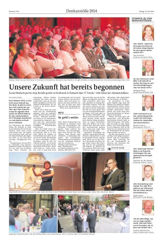 Denkanstöße2014Nummer 163 Freitag, 18. Juli 2014 Von Armin Schulz Kreis Rottweil. Wow, so also sieht unsere Zukunft aus. D...