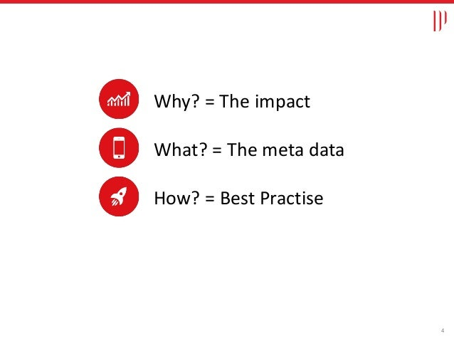 Why? = The impact What? = The meta data How? = Best Practise 4