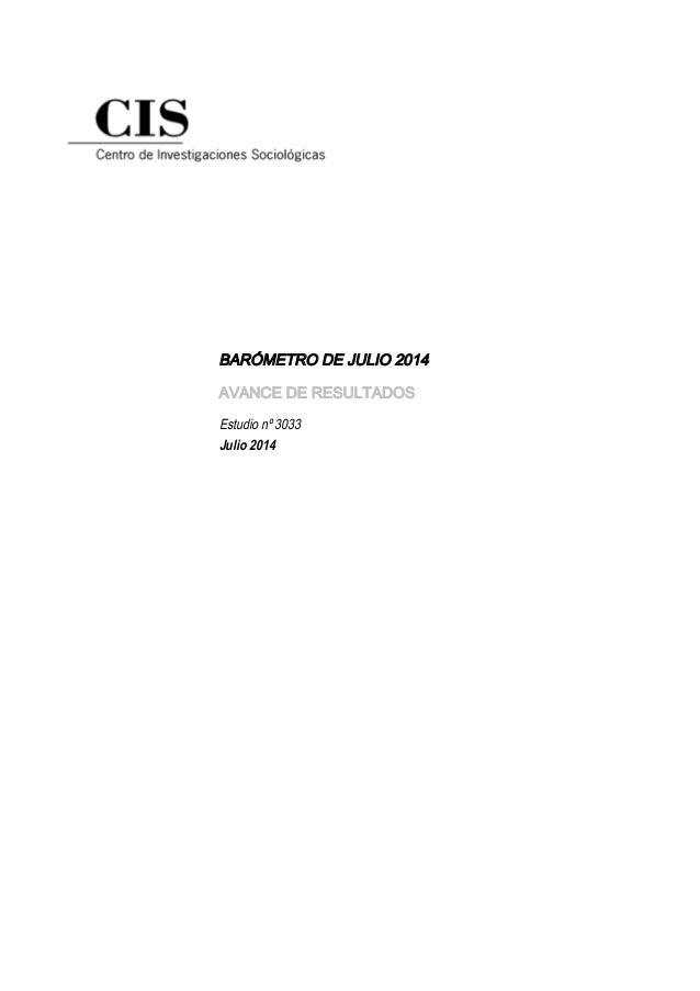 Barometro de Julio 2014 - CIS