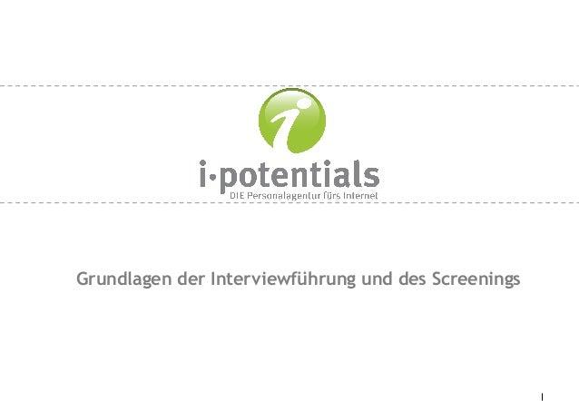Grundlagen der Interviewführung und des Screenings
