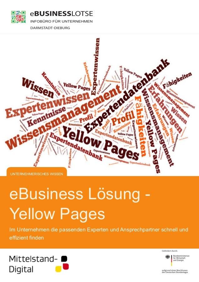 eBusiness Lösung -  Yellow Pages  Im Unternehmen die passenden Experten und Ansprechpartner schnell und  effizient finden ...