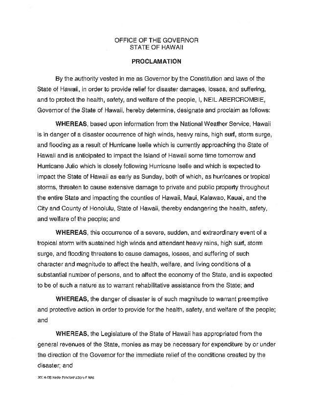 Proclamation in preparation of Hurricanes Iselle and Julio