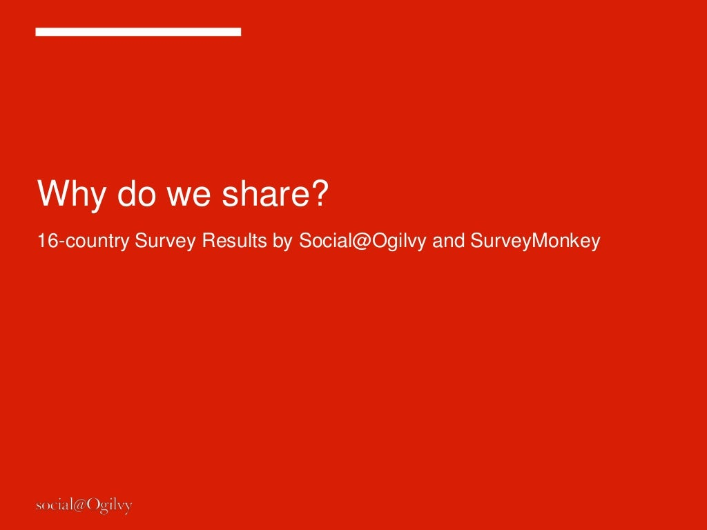 Why do people share on social media? Global survey results