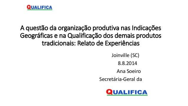 A questão da organização produtiva nas Indicações Geográficas e na Qualificação dos demais produtos tradicionais: Relato d...