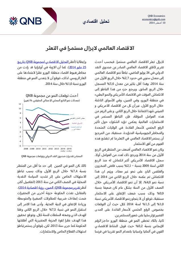 اقتصادي تحليل QNB Economics economics@qnb.com 10أغسطس2014 العالمي االقتصاداليزالفي مستمراالتعثر أحدث...