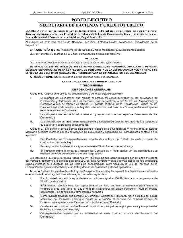 (Primera Sección-Vespertina) DIARIO OFICIAL Lunes 11 de agosto de 2014  PODER EJECUTIVO  SECRETARIA DE HACIENDA Y CREDITO ...