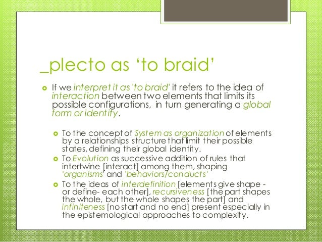 _plecto as 'to braid'  If we interpret it as 'to braid' it refers to the idea of interaction between two elements that li...