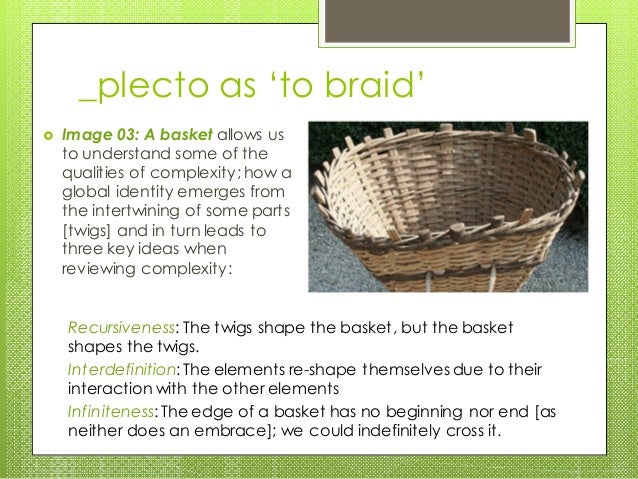 _plecto as 'to braid'  Image 03: A basket allows us to understand some of the qualities of complexity; how a global ident...