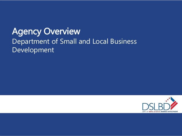 Agency Overview Department of Small and Local Business Development
