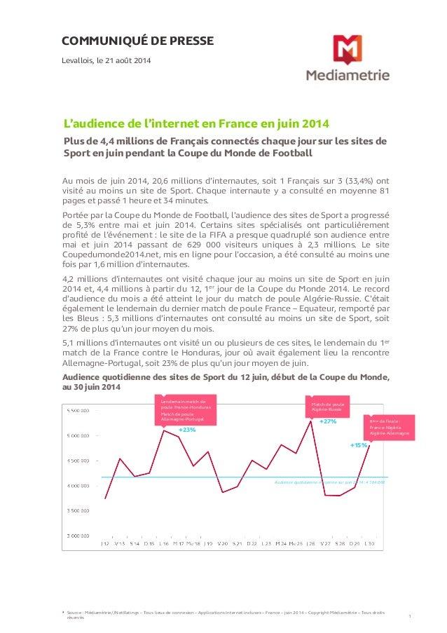 COMMUNIQUÉ DE PRESSE  L'audience de l'internet en France en juin 2014  Plus de 4,4 millions de Français connectés chaque j...