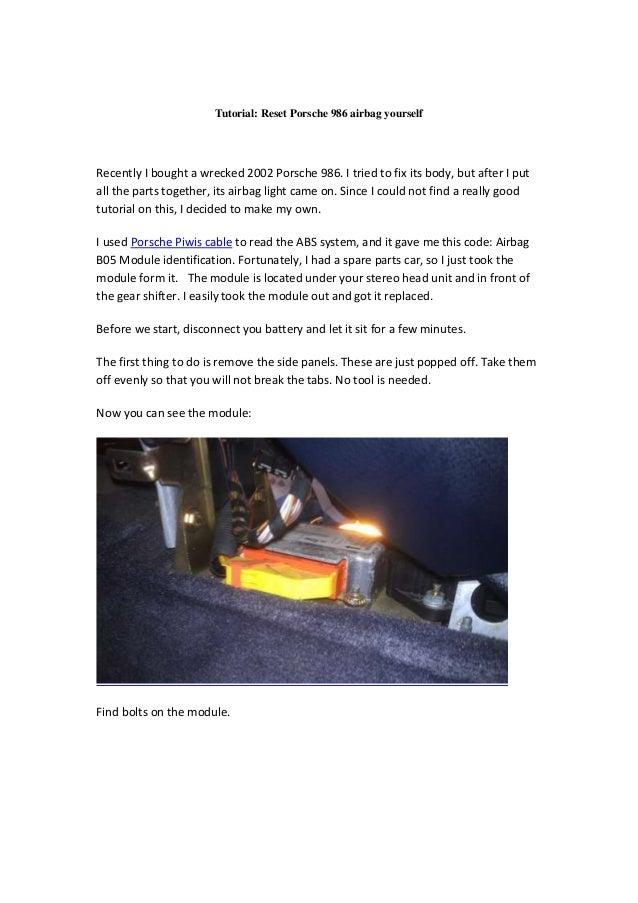 tutorial reset porsche 986 airbag yourself