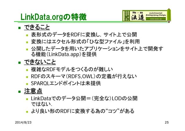 LinkData.orgの特徴  できること  表形式のデータをRDFに変換し,サイト上で公開  変換にはエクセル形式の「ひな型ファイル」を利用  公開したデータを用いたアプリケーションをサイト上で開発す る機能(LinkData.ap...