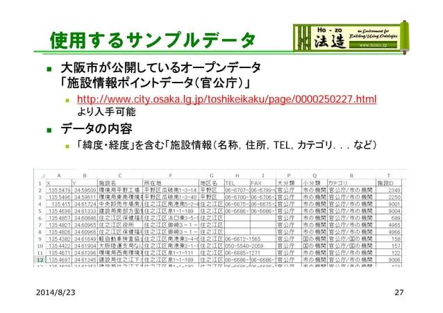 使用するサンプルデータ  大阪市が公開しているオープンデータ 「施設情報ポイントデータ(官公庁)」  http://www.city.osaka.lg.jp/toshikeikaku/page/0000250227.html より入手可能 ...