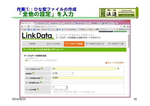 作業①:ひな型ファイルの作成 「全他の設定」を入力 2014/8/23 30