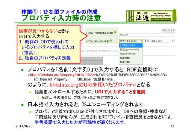 作業①:ひな型ファイルの作成 プロパティ入力時の注意 2014/8/23 33  プロパティを「名前(文字列)」で入力すると,RDF変換時に, <http://linkdata.org/property/rdf1s1782i#%E6%96%B...
