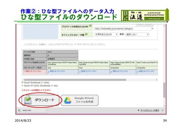 作業②:ひな型ファイルへのデータ入力 ひな型ファイルのダウンロード 2014/8/23 34