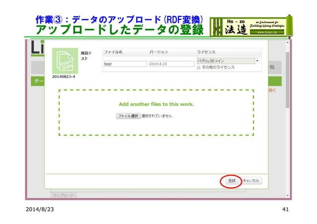 作業③:データのアップロード(RDF変換) アップロードしたデータの登録 2014/8/23 41