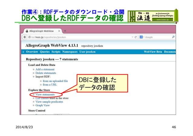 作業④:RDFデータのダウンロード・公開 DBへ登録したRDFデータの確認 2014/8/23 46 DBに登録した データの確認