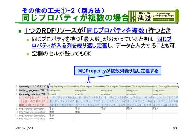 その他の工夫①-2(別方法) 同じプロパティが複数の場合 2014/8/23 48 同じPropertyが複数列繰り返し定義する  1つのRDFリソースが「同じプロパティを複数」持つとき  同じプロパティを持つ「最大数」が分かっているときは...
