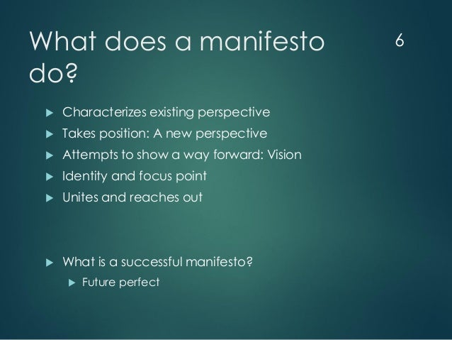 """Manifesto Image: """"Did You Say Manifesto?"""" Background And Observations On"""