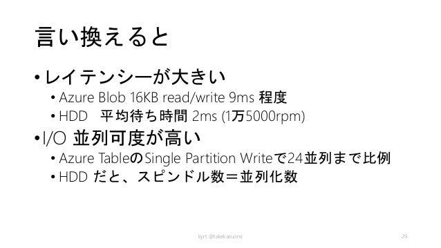 言い換えると •レイテンシーが大きい • Azure Blob 16KB read/write 9ms 程度 • HDD 平均待ち時間 2ms (1万5000rpm) •I/O 並列可度が高い • Azure TableのSingle Part...