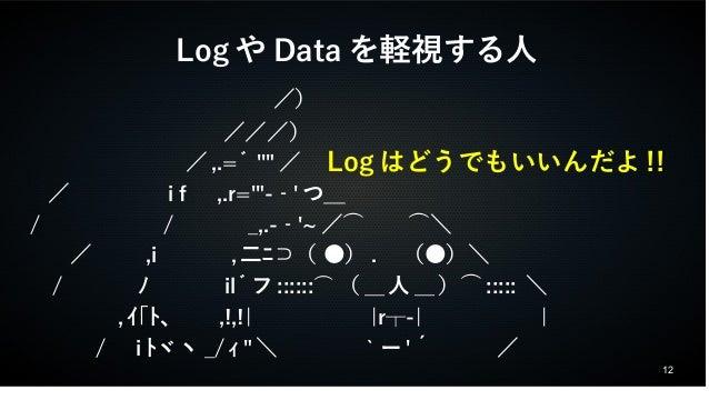 """12  LogやDataを軽視する人                /)             ///)            /,.= ゙''""""/     /     i f ,.r='""""-‐'つ_    /      /   _,.-‐'..."""