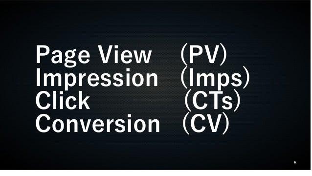 5  Page View (PV)  Impression (Imps)  Click (CTs)  Conversion (CV)