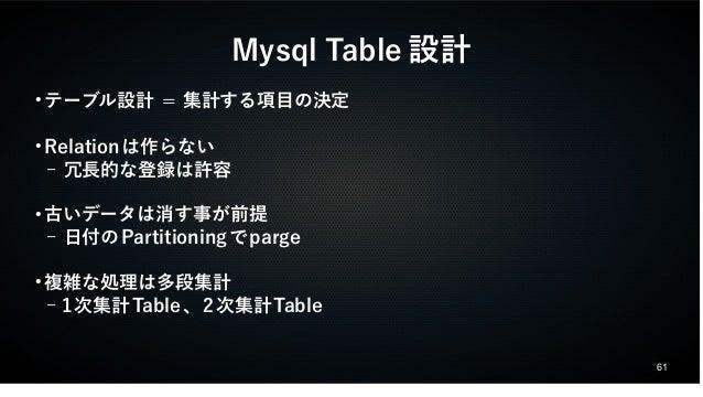 61  Mysql Table設計  ●テーブル設計 = 集計する項目の決定  ●Relationは作らない  – 冗長的な登録は許容  ●古いデータは消す事が前提  – 日付のPartitioningでparge  ●複雑な処理は多段集計  ...