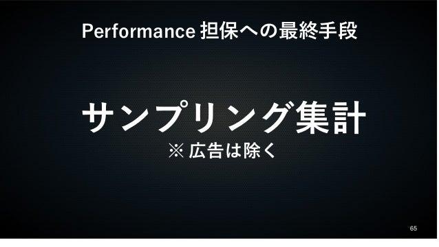 65  Performance担保への最終手段  サンプリング集計  ※広告は除く