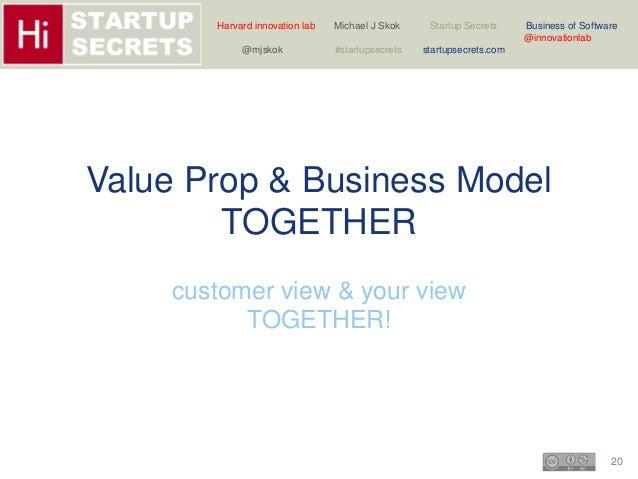 Harvard innovation lab Michael J Skok Startup Secrets Business of Software  20  @innovationlab  @mjskok #startupsecrets st...