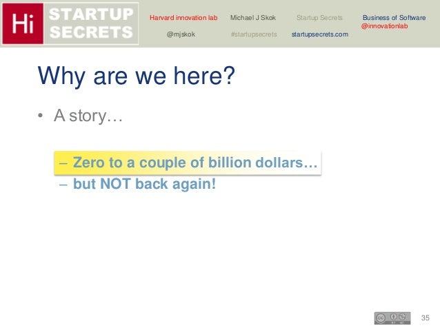 Harvard innovation lab Michael J Skok Startup Secrets Business of Software  35  @innovationlab  @mjskok #startupsecrets st...