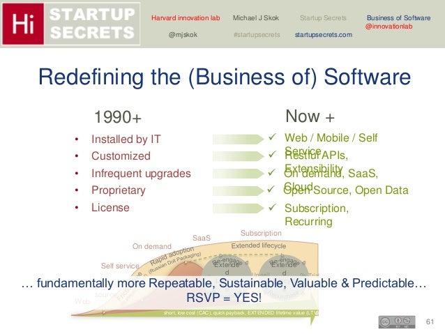 Harvard innovation lab Michael J Skok Startup Secrets Business of Software  … fundamentally more Repeatable, Sustainable, ...
