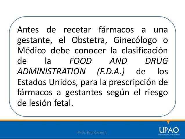 Antes de recetar fármacos a una gestante, el Obstetra, Ginecólogo o Médico debe conocer la clasificación de la FOOD AND DR...