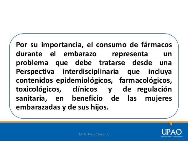 Ms.Sc. Elena Cáceres A. FÁRMACOS A EVITAR EN EL EMBARAZO  Vacunas con virus vivos (ejemplo: vacuna de la rubéola)  Antid...