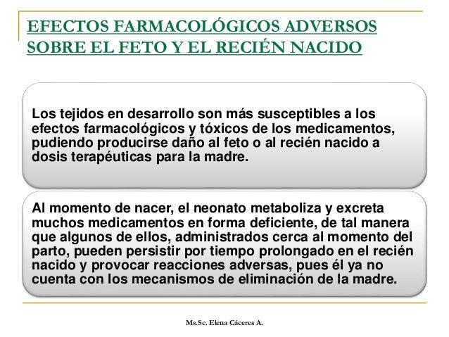 EFECTOS ADVERSOS MEDICAMENTOSOS SOBRE LA MADRE GESTANTE Ms.Sc. Elena Cáceres A.