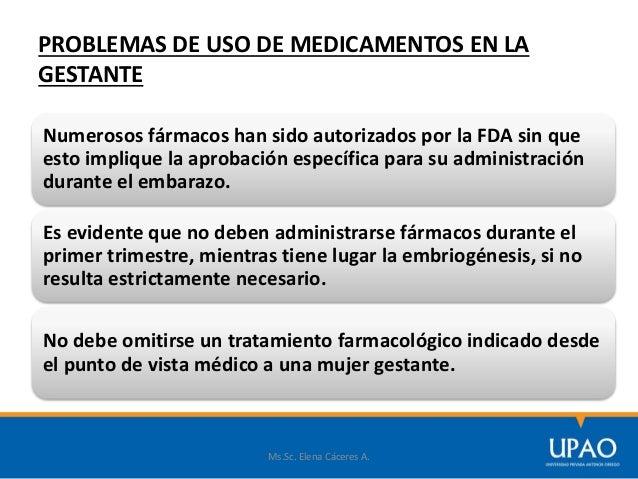 PROBLEMAS DE USO DE MEDICAMENTOS EN LA GESTANTE Ms.Sc. Elena Cáceres A. Numerosos fármacos han sido autorizados por la FDA...