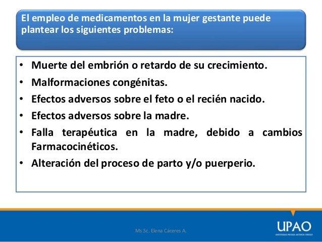 El empleo de medicamentos en la mujer gestante puede plantear los siguientes problemas: • Muerte del embrión o retardo de ...