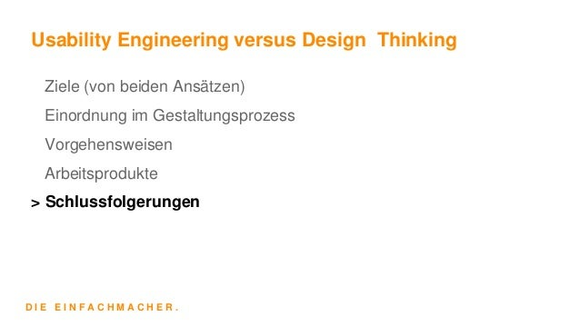 Usability engineering versus design thinking for Waterfall vs design thinking