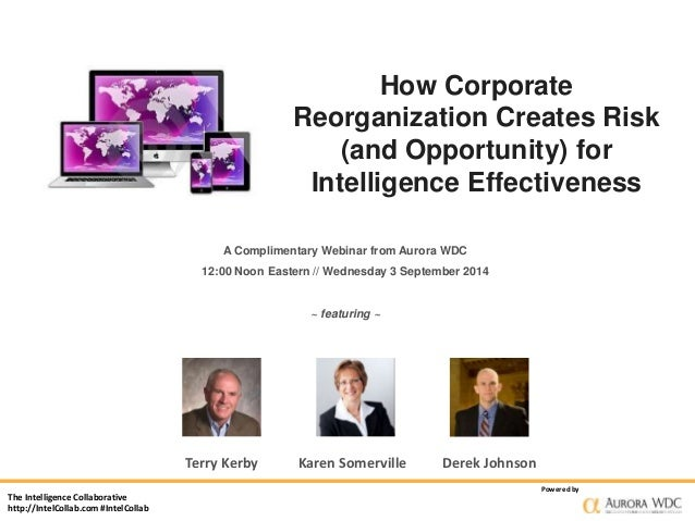 The Intelligence Collaborative  http://IntelCollab.com #IntelCollab  How Corporate  Reorganization Creates Risk  (and Oppo...