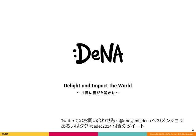 38  Twitterでのお問い合わせ先: @dnogami_dena へのメンション  あるいはタグ#cedec2014 付きのツイート  Copyright (C) 2014 DeNA Co.,Ltd. All Rights Reserve...