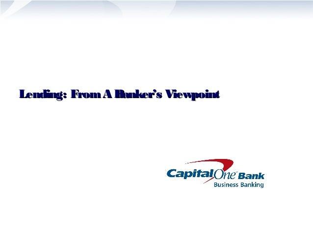 Lending: From A BBaannkkeerr''ss VViieewwppooiinntt