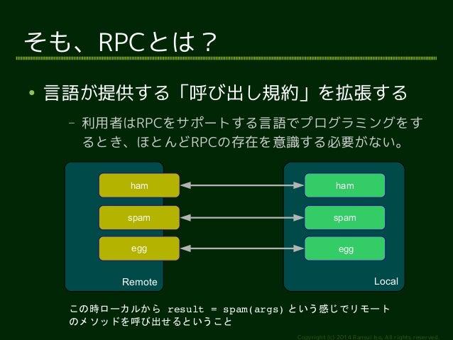 ham  spam  egg  Copyright (c) 2014 Ransui Iso, All rights reserved.  そも、RPCとは?  ● 言語が提供する「呼び出し規約」を拡張する  – 利用者はRPCをサポートする言語...