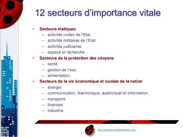 12 secteurs d'importance vitale  http://www.personalinteractor.com  • Secteurs étatiques  – activités civiles de l'Etat  –...